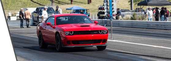 Used Red Dodge Challenger Hellcat on the Road
